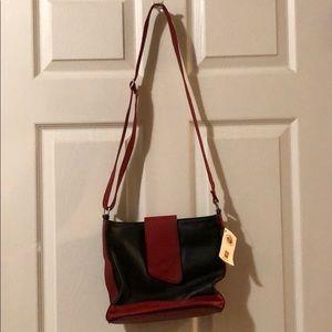 Vera Pelle red and black cross body purse